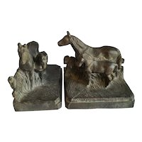 Pr. of 1920's Horse Bookends