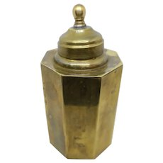 Faceted Brass Canister with Lid 5.5""