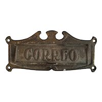 "1920's Brass Mail Slot ""Correo"" Bungalow Arts & Crafts"