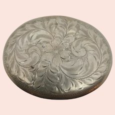 925 Sterling Silver Chased Oval Belt Buckle