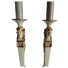 Pr Stiffel Hollywood Regency Egyptian Pencil Lamps
