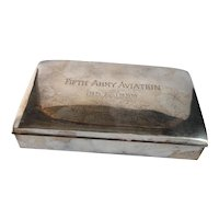 Poole Silverplate Cigarette Box  5th Army Aviation