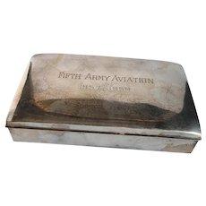 Poole Silverplate Cigarette Box  5th Army Aviation