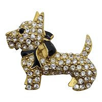 Monet Gold Toned Rhinestone Scottie Pin
