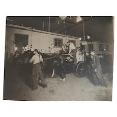 Pr Photos Horse Drawn Fire Wagon and Firemen with Pants Down