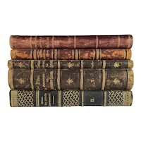 Set/5 Leather Bound 19th C Decorator Books