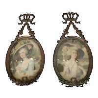 Pr of Edwardian Pressed Tin Picture Frames