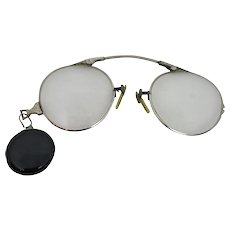 Gold Filed Pince Nez with Button Pin Retractable Chain