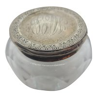 Edwardian Sterling & Crystal dresser Jar
