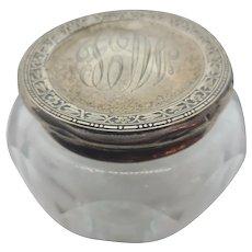 Edwardian Sterling & Crystal dresser Jar