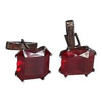 Cufflinks-sterling w/red stone