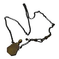 Brass perfume vial necklace