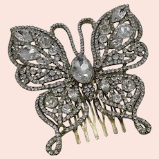 Rhinestone Butterfly hair comb.