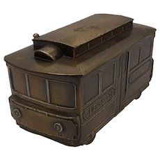 "Cast metal ""Cherrelyn No.2"" trolly car savings bank"