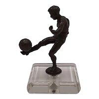Bronze soccer trophy
