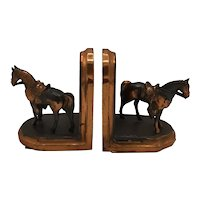 1920's Copper clad horse bookends
