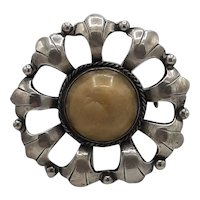 Sterling and natural stone broach