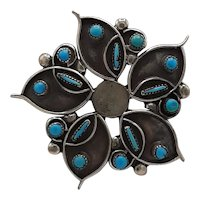 Sterling and turquoise Anemone pendant/broach.