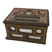 Tramp Art wood box with drawer