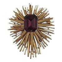 Crown Trifari atomic amethist brooch