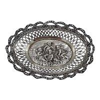 Silver Victorian style filigree dish