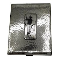 Silver and brass Golfer cigarettes case