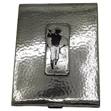 Silver and brass Golfer cigarettes case