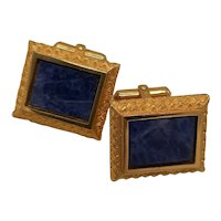 Lapis framed cufflinks