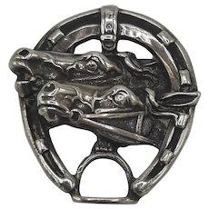 Sterling horse & horseshoe pin
