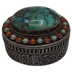 Sterling ring box with turquoise and coral