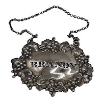 Sterling decanter tag- BRANDY
