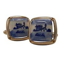 Blue and white ceramic cufflinks