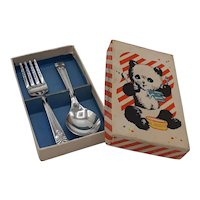 Baby silver plate spoon and fork