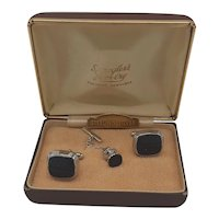 Sterling and Gold Stone cufflinks and tie-tac