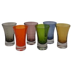 Colored Etched Glass Shot Glasses