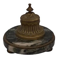French Verde Antico Marble Inkwell
