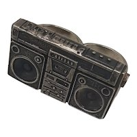 Sterling Boom Box Double Finger Ring
