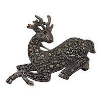 Sterling and Marcasite Deer Brooch