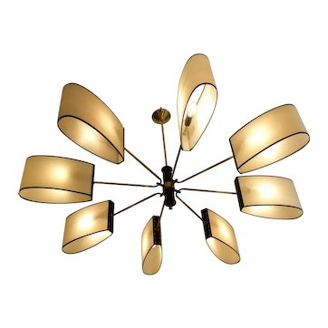 1950s 8-Light Circular Chandelier by Maison Lunel