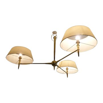 Neoclassic Chandelier Has 3-Light Arms in Bronze, circa 1945-1950