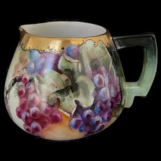 Vintage Austrian Hand-Painted Cider Pitcher with grapes Signed by the Artist