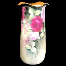 "Large 14.5"" Antique Austrian Hand-Painted Vase with Roses"