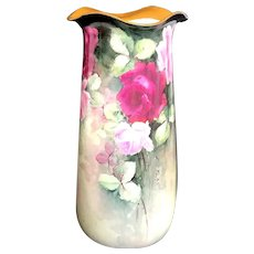 """Large 14.5"""" Antique Austrian Hand-Painted Vase with Roses"""
