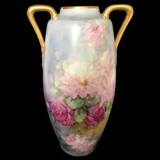 "Large 15 1/2"" Antique Austrian Double-Handled Vase With Hand-painted Cabbage Red and Pink Roses"