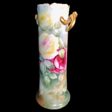 Artist Painted Victorian Austrian Pretzel Vase with Yellow and Dark Pink Roses