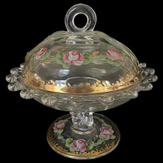 Heisey Glass Candy Dish with Enamel Pink Roses and Gold Highlights