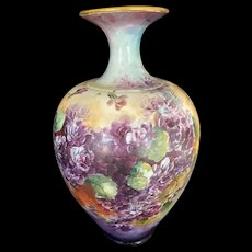 Hand-Painted Willet Belleek Vase with Violets and Greenery