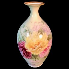 Antique Hand-Painted Belleek Vase with Purple, Yellow, Crimson, and Pink Chrysanthemums, Artist Signed