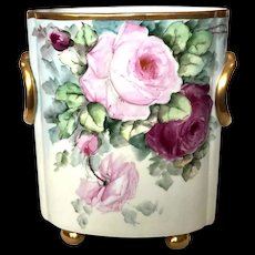 Antique Bavarian Cache Pot with Red and Pink Roses