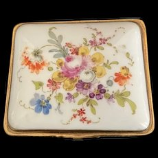Dresden Box with Multi-Colored Flowers and Greenery against White Porcelain